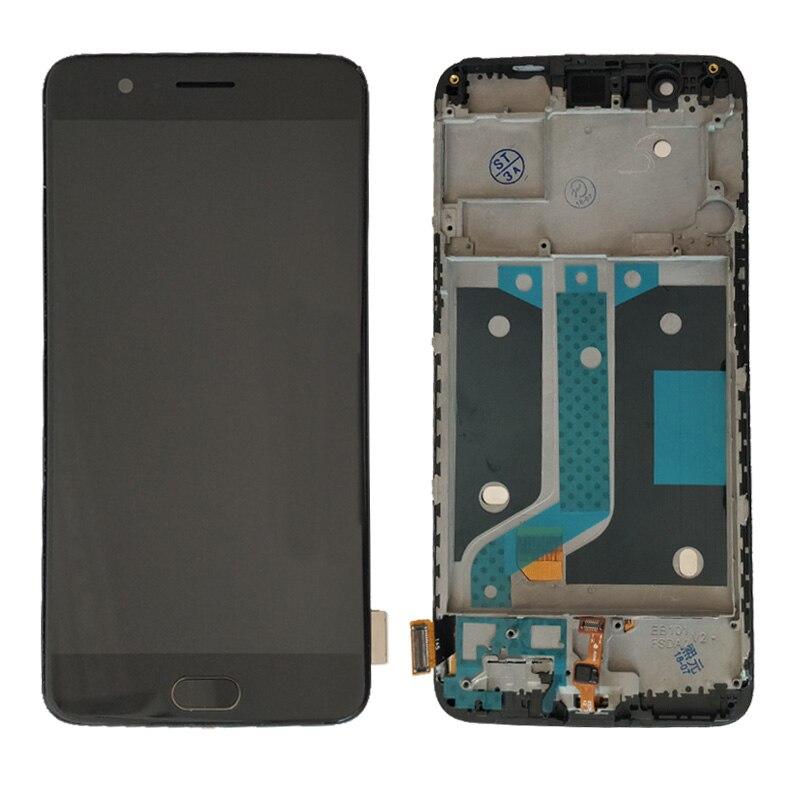 Pour OnePlus 5 lcd One Plus 5 ÉCRAN LCD et Numériseur À Écran Tactile Avec cadre A5000 lcd bouton d'accueil empreinte digitale