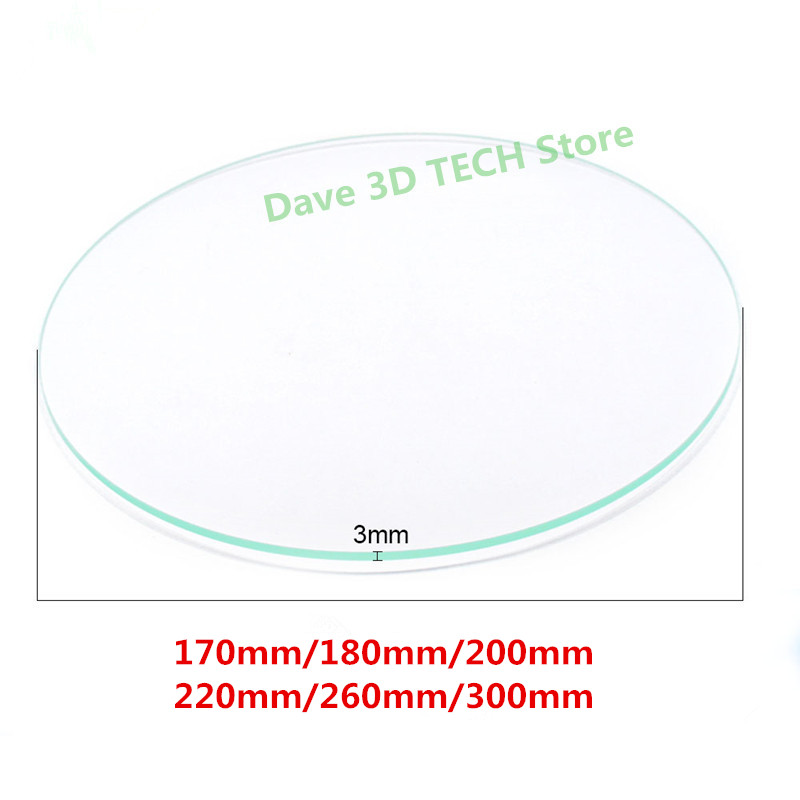 3D printer Round Shape frosted Borosilicate glass plate Diameter 170mm/180mm/200mm/220mm / 240mm / 260mm/ 300mm * 3MM