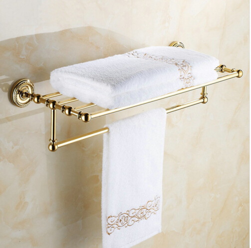 High Quality Gold Fixed Bath Towel Holder Wall Mounted Towel Rack Brass Towel Shelf Bathroom Accessories 2016 high quality brass and crystal bathroom towel rack gold towel holder hotel home bathroom storage rack rail shelf