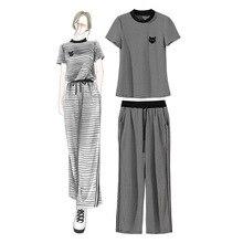 Unique Design 2pcs/Set Women Crop Top & Wide Leg Pants Fashion Clelebrity Office Lady Elegant Striped Tshirt Sets недорого