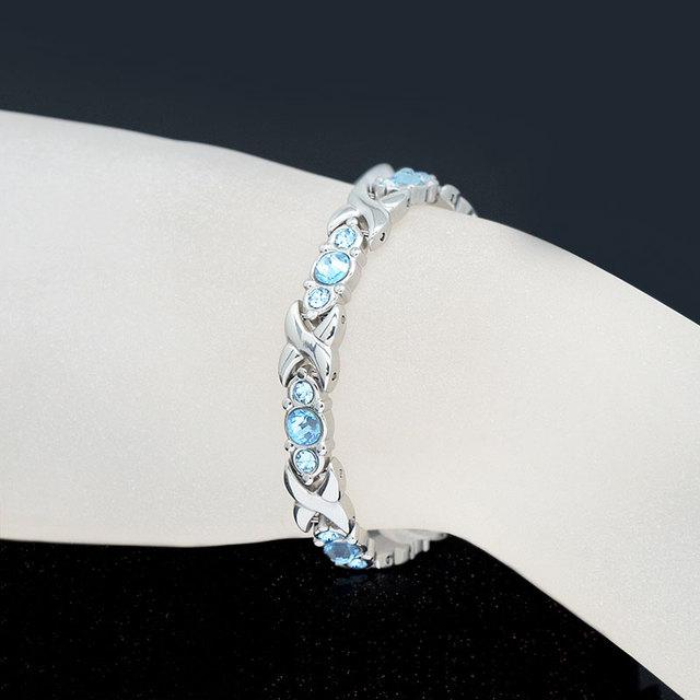 Blue Crystals Magnetic Bracelet For Women