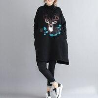 2018New Autumn Winter Women Long Black Hoodies Sweatshirts Loose Plus Velvet Letter Print Turtleneck Pullover Jacket