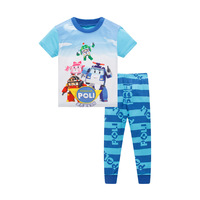 2017 Children Girls Clothes Pajamas Sets Short Sleeve Top Pants Kids Pajamas Letter Cotton O Neck