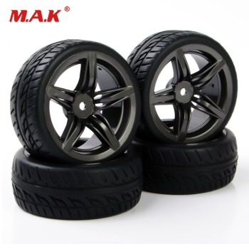 4pcs 1:10 Flat On Road Car Accessories Rubber Tires Rims For HSP HPI Racing RC 1/10 car tire and wheels PP0150+12FM