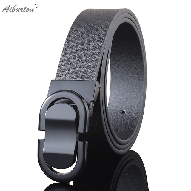 New Fashion belt designer belts men high quality genuine leather luxury smooth big buckles wide belt for men brown black 125cm