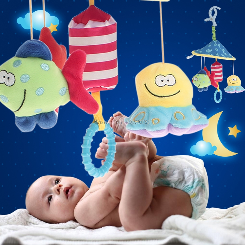 Baby Bed Stroller Toy Soft Plush Rattles Crib Bell Rotate Wind-up Educational -B116