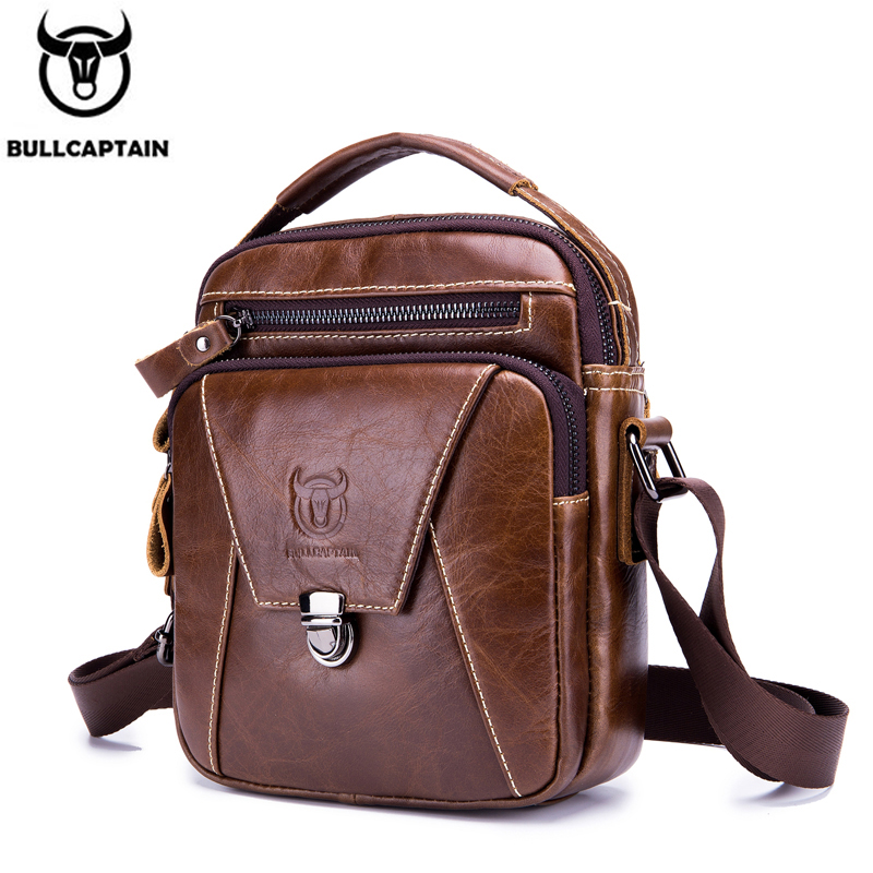 BULLCAPTAIN Men's Shoulder Diagonal Shoulder Layer Leather Business Casual New Personality Small Bag