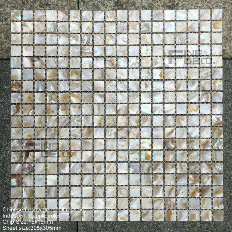 €25.42 |Tuile naturelle de mosaïque de coquille d\'huître d\'eau douce de  couleur de pomme irisée naturelle 100% pour la décoration de salle de  bains-in ...