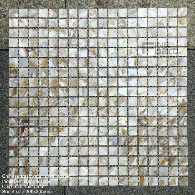 € 25.21  Tuile naturelle de mosaïque de coquille d\'huître d\'eau douce de  couleur de pomme irisée naturelle 100% pour la décoration de salle de ...