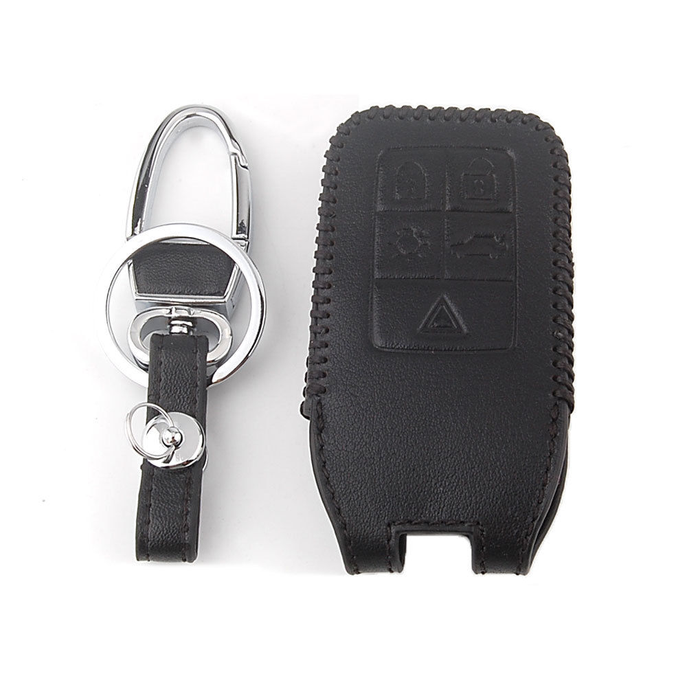 BBQ@FUKA 5Button Leather Smart Remote Key Case Cover with Key Chain Car Key Bag Fob for Volvo S60 S80 XC60 XC70 Black