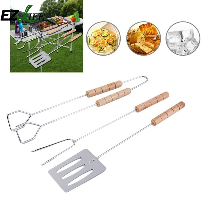 EZLIFE Korean barbecue stainless steel three-piece suit Wooden skewers Outdoor barbecue accessories ZH01367