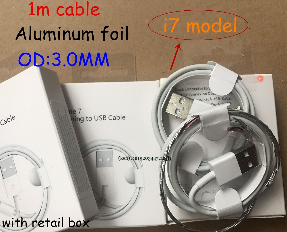 50pcs 1m OD 3 0mm AAA Quality USB Data Charger usb Cable With aluminum foil for