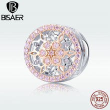 BISAER Genuine 925 Sterling Silver Beads for Women blooming bud Charm Bracelet Argent Jewelry Making Femme Bijoux HSC923(China)