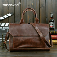 YUPINXUAN Europe Mens Vintage PU Leather Handbags 13 Laptop Briefcases Retro Male Leather Shoulder Bag Stylish