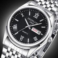 Nueva Marca de Lujo Fecha Día Reloj de Los Hombres A Prueba de agua Para Hombre Relojes de Acero Inoxidable de Negocios Reloj de Cuarzo Reloj Montre Homme 0190