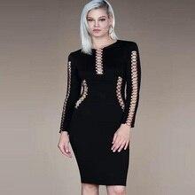 Neue herbst und winter stil schwarz kleid langärmeligen elastische binde fest cocktail party kleid