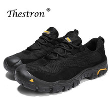 Thestron Man Hiking Shoes Anti-Slip Mesh Sport Outdoor Spring Autumn Mens Rock Climbing Black Khaki Mountain Men