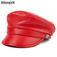 XdanqinX Genuine Leather Hat Autumn Women's Caps Cowhide Sheepskin Army Military Hats For Men Women Fashion Brands Flat Cap New