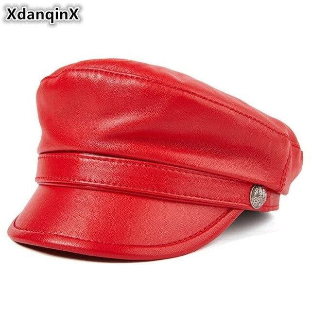 Xdanqinx Kulit Asli Topi Musim Gugur Wanita Topi Kulit Sapi Kulit Domba  Tentara Militer untuk Pria 0eef217ccd
