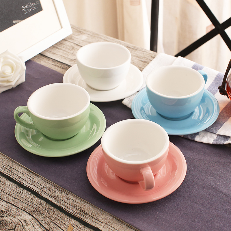 200 Ml Colorful Thick Body New Bone China Cuccino Cups And Saucers Ceramic Coffee Cup Saucer In From Home Garden On Aliexpress