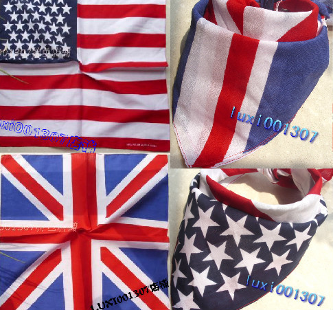 10Pcs Hot Selling UK Union & America  Jack flag bandana Head Wrap Scarf Neck Warmer Double Sided Print Free Shipping