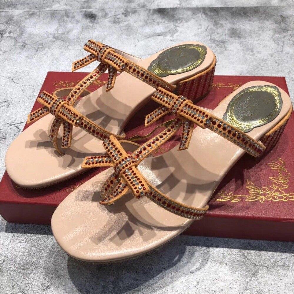 Zapatos Mode Maultiere Schmetterling Schuhe Platz Slip Sommer Design Frauen Hausschuhe High Show Frau Mujer Sandalen Heels As Strass knoten Auf Oa4qxw