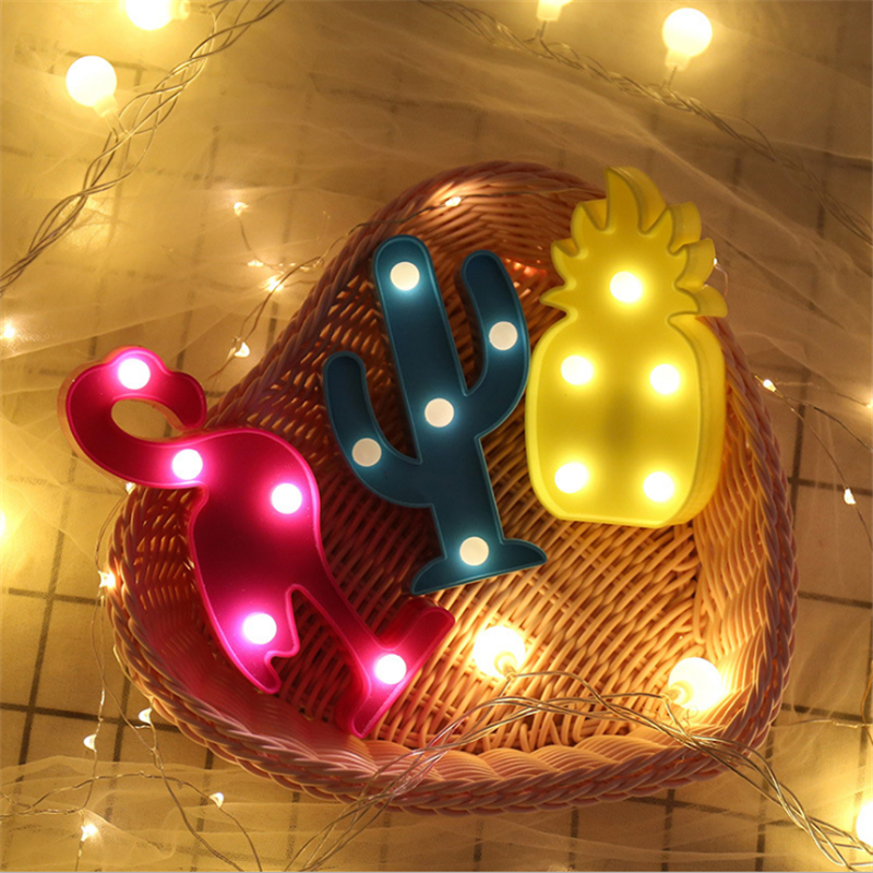 1Pcs LED Mini Night Lights Flamingo Pineapple Cactus 3D Lights Festival Bedroom Party Decor Kids Baby Birthday Christmas Gift (2)