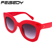 FEISEDY Fashion Cat Eye Sunglasses Women Brand Designer Vintage Big Frame UV400 Sun Glasses For Women Shades FB1437 Gafas Oculos