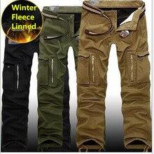Брюки карго мужские зимние, плотные теплые штаны, повседневные мешковатые тактические штаны в стиле милитари, с несколькими карманами, большие размеры 29 40