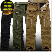 29 40 Plus Size Men Cargo Pants Winter Thick Warm Pants Full Length Multi Pocket Casual
