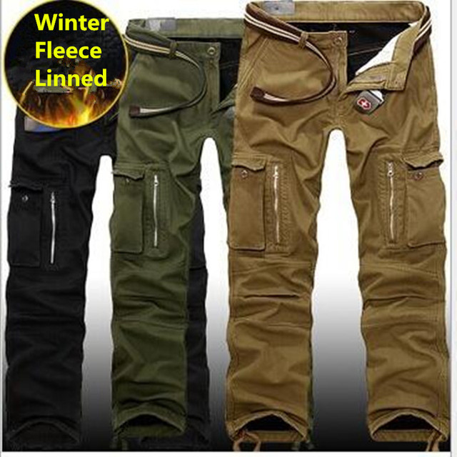 dc1f4d08b1c 29-40 Plus size Men Cargo Pants Winter Thick Warm Pants Full Length Multi  Pocket Casual Military Baggy Tactical Trousers