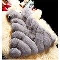 Uwback Искусственного Меха Жилет 2017 Новый Зиму Искусственного Фокс Шуба 3XL Тонкий Бурелом Белый/Розовый Плащ Меховой Жилет Mujer TB1264