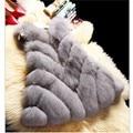 Uwback Faux Fur Vest 2017 New Winter Long Faux Fox Fur Coat 3XL Slim Windbreak White/Pink Cloak Fur Vest Mujer TB1264