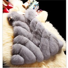 Uwback Faux Fur Vest 2017 New Winter Long Faux Fox Fur Coat 3XL Slim Windbreak White/Pink Cloak Fur Vest Mujer TB1264
