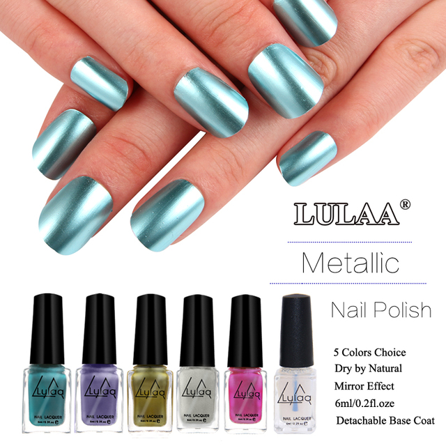 5 Color Nail Varnish Metallic Nail Polish Colorful Mirror Effect ...