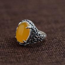 GZ 925 Ronda Anillo de Plata Amarillo Ágata Piedra Anillos para las mujeres anillos de La Joyería S925 Thai Plata Masculina de Los Hombres