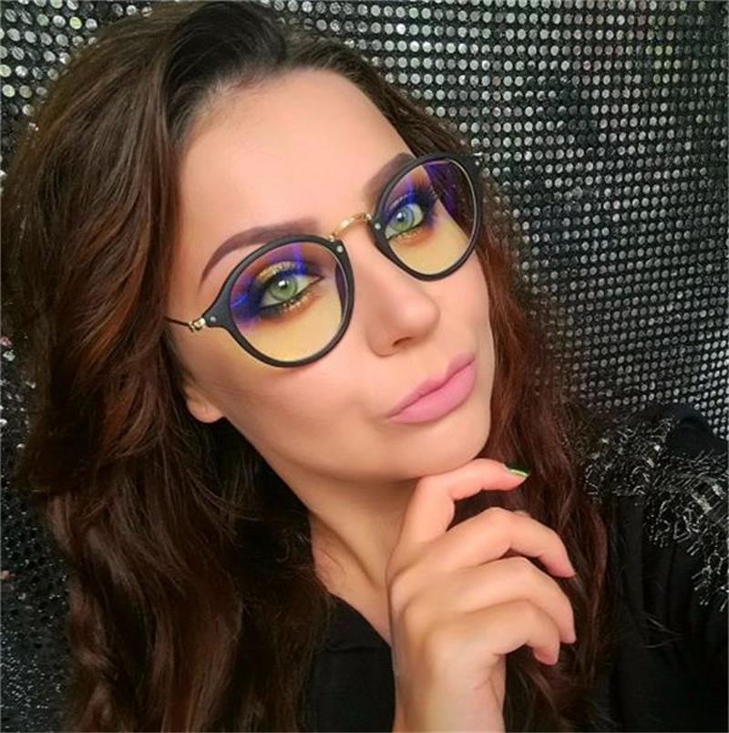 Luz Azul gafas de computadora gafas transparente redonda mujer gafas marco 2018 marcos ópticos claro