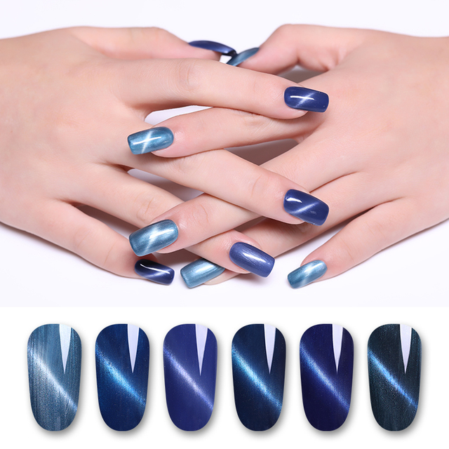 LILYCUTE 8ml Peacock Blue Cat Eye UV Gel