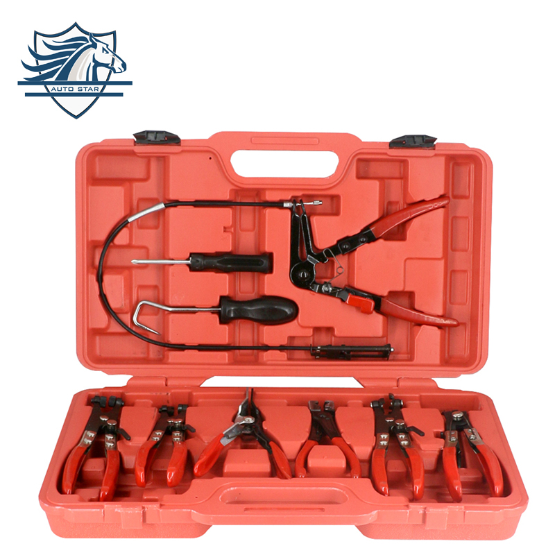 9PC Hose Clamp Clip Plier Set Swivel Jaw Flat Angled Band Automotive Tool Hose Clamp Clip Remover Pliers Tool Set Kit for zte blade a1 c880u c880 c880d c880s lcd display touch screen panel digital accessories free shipping