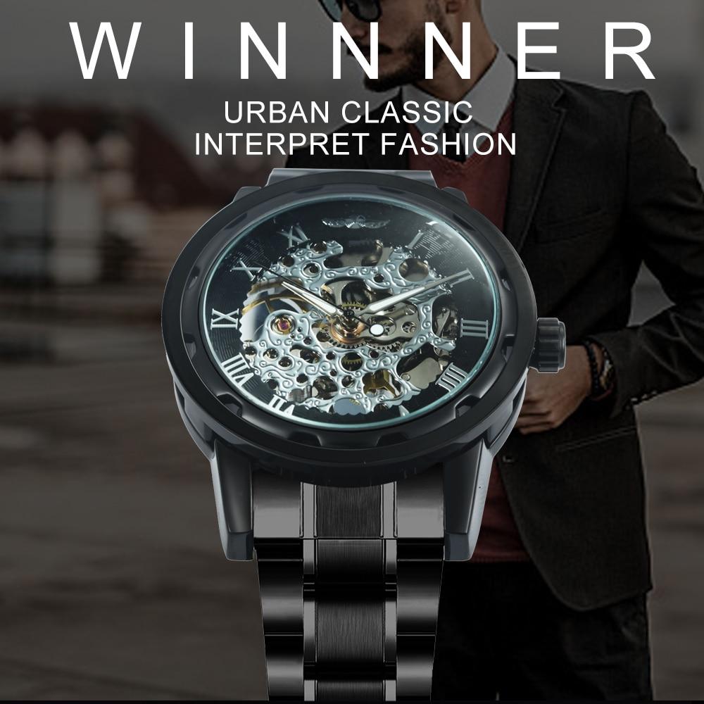 HTB1A0ekN9zqK1RjSZFHq6z3CpXaZ 2019 WINNER Mechanical Watches For Men Hand-wind Steel Watches Roman Number Skeleton Wristwatches Luminous Hands reloj hombre