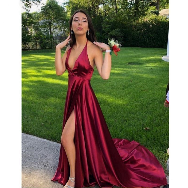 Burgundy Evening Dress Simple Halter A line High Slit Sexy Backless Sleeveless Satin Reflective Sweep Train