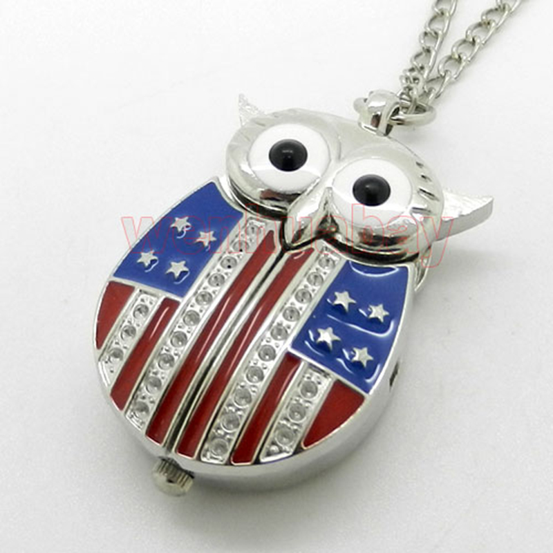 Fashion US Flag Star and Stripe Unique Owl With Active Wings Quartz Pocket Watch Steampunk Pendant Necklace Chain Men Women Gift