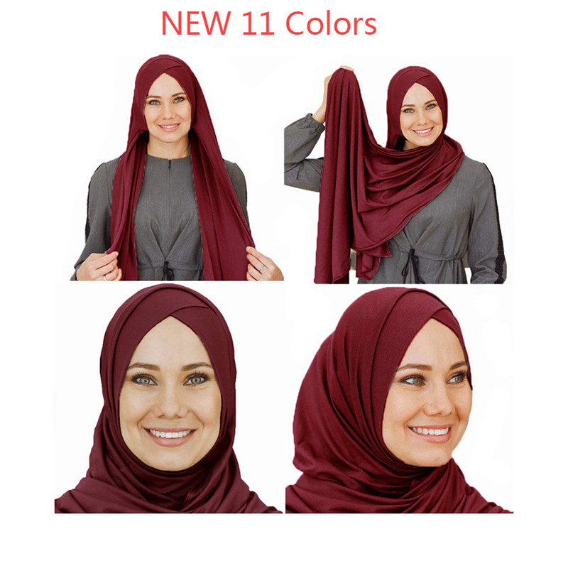 2019 Women Plain Bubble Cotton Jersey Scarf Head Hijab Wrap Solid Color Shawls Foulard Femme Muslim Hijabs Store Ready To Wear