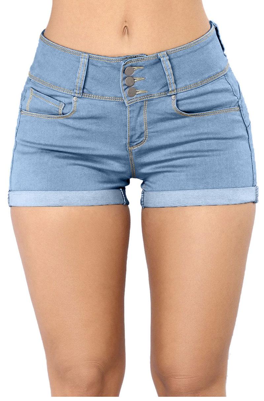 Light-Blue-Mid-Rise-Triple-Button-Stretch-Denim-Shorts-LC786077-4-31519
