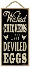 Meijiafei Wicked chickens lay deviled eggs 5″ x 10″ wood sign plaque