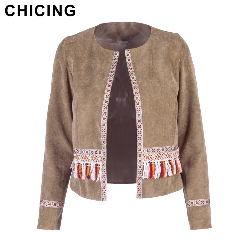 CHICING 2018 New Arrival Women Fashion   Basic     Jacket   Long Sleeve Open Stitch Tassel Patchwork Regular Coats Female A1710409