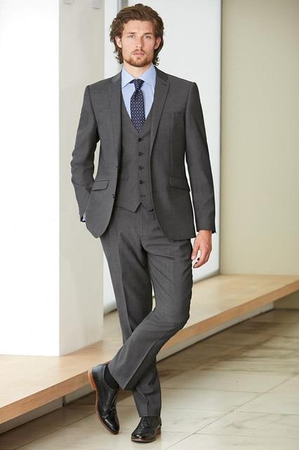 Custom Made Fashion Dark Grey Men Business Suit Men Wedding Suits ...
