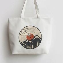 цены Mount Fuji Japanese Anime Canvas Tote bag Cartoon Shopping bags school Shoulder Reusable Shopper Grocery Bag cloth fabric AN269