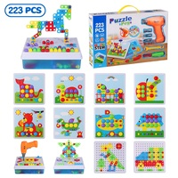 Kids Drill Screw Nut Puzzle Toy 223PCS Mosaic Puzzle Art Toys Drill Creative DIY 3D Building Model Kit Educational STEM Toy Gift