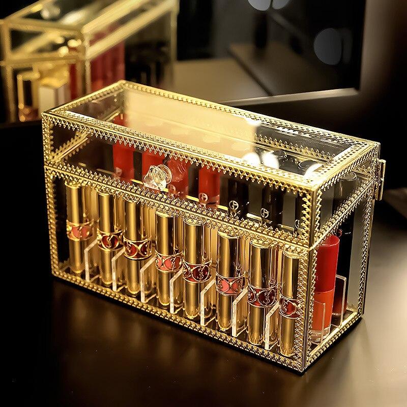 Chique acrílico vidro maquiagem organizador de armazenamento